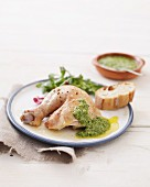 Chicken legs with an anchovy and basil sauce