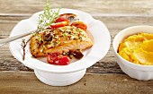Jerk salmon with mashed sweet potatoes