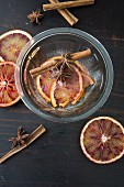 Blood orange slices preserved in Grand Manier and sugar