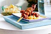 Beef satay skewers with coleslaw