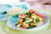 Potato and beef salad with mayonnaise