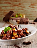 Carne de res en adobo (beef ragout with chocolate, Mexico)