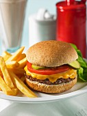 A classic cheeseburger with chips