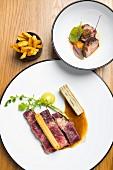 Côte de Boeuf mit Kartoffel-Churro und Pommes, Restaurant 'La Paix', Brüssel, Belgien