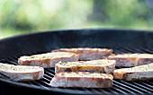 Garlic bread on a barbecue