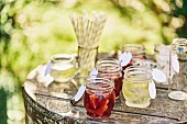 Various types of punch for a garden party