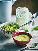 Cajun remoulade, guacamole with coriander and garlic mayonnaise
