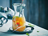 Peach iced tea punch with mint
