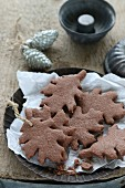 Gluten-free, leaf-shaped shortbread biscuits