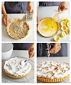 Lemon meringue tart being made