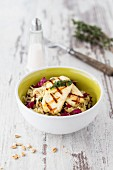 Pasta salad with Halloumi cheese