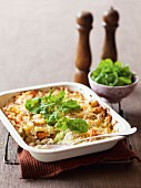 Pasta bake with leek, pumpkin and chickpeas