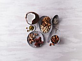 Nuts and seeds (seen from above)