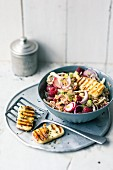 Fennel and oat salad with grilled cheese