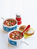 Bowl of Minestrone Soup with Bread