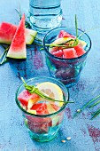 Detox drinks with watermelon and lemon