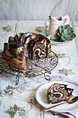 Chocolate & vanilla zebra cake with Amarula ganache