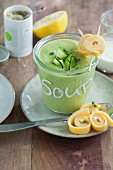 Quick cream of courgette soup with omelette pastries
