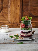 Pearl barley salad with roast beef in a jar