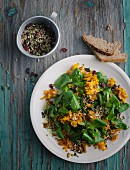 Lamb's lettuce with pumpkin and mixed seeds