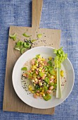 Trout ceviche with mango and sesame seeds