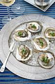 Mit Pesto gratiniert Austern