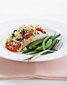 Baked fish with mediterranean crumb