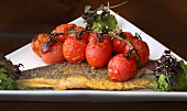 Fried seabass with roasted vine tomatoes