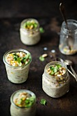 White chilli with white beans and chicken in jars