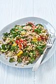 Farro salad with roast vegetables and kale