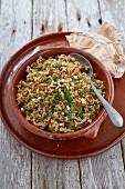 Freekah pilau with pine nuts