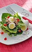 A salad with chicken, quails eggs and pomegranate seeds