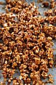 Caramel popcorn on a baking tray