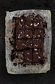 Black brownies with peppermint chocolate
