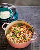 Linguine with an aubergine and tomato sauce and basil