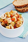 Squid with white beans and mushrooms