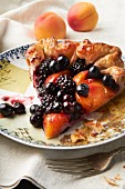 A slice of fruit tart with berries and apricots