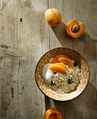 Healthy muesli with apricots and yoghurt