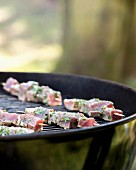 Tuna fish skewers on a barbecue