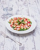 Rocket salad with crayfish, radishes and sweet chilli