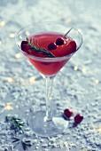 A cranberry martini