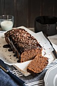 Chocolate cake with dark chocolate glaze