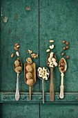 Various nuts: walnuts, hazelnuts, almonds, peanuts, cashew nuts and macadamia nuts on a wooden surface on spoons