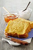 French toast with marmalade for breakfast