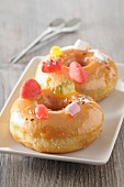 Doughnuts decorated with sweets