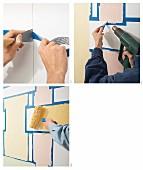 Wand mit Farbe und Abklebetechnik in Lagenlook gestalten