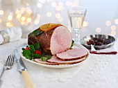 Roast ham with candied orange for Christmas