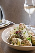 Artichokes stuffed with ricotta and mushrooms