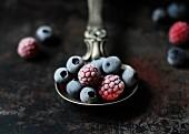 Frozen berries on a silver spoon