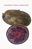 Purple potatoes, whole and halved